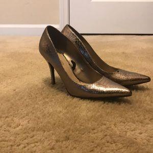 Shoes - Metallic snake-embossed pumps